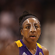Nneka Ogwumike, Los Angeles Sparks, (wearing face mask), during the Connecticut Sun Vs Los Angeles Sparks WNBA regular season game at Mohegan Sun Arena, Uncasville, Connecticut, USA. 3rd July 2014. Photo Tim Clayton