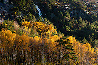 Imsvatnet, Sandnes, Norway. Colourful autumn colours and a waterfall from the mountains.