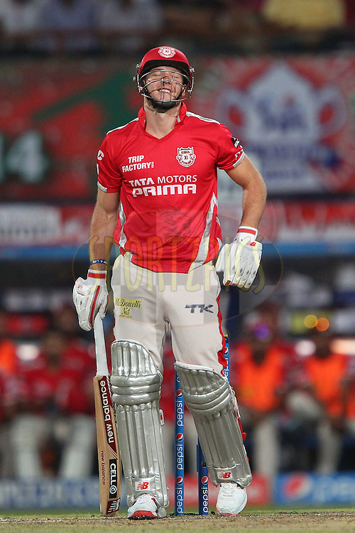 David Miller of the Kings X1 Punjab reacts after a delivery from Piyush Chawla of the Kolkata Knight Riders during the first qualifier match (QF1) of the Pepsi Indian Premier League Season 2014 between the Kings XI Punjab and the Kolkata Knight Riders held at the Eden Gardens Cricket Stadium, Kolkata, India on the 28th May  2014<br /> <br /> Photo by Ron Gaunt / IPL / SPORTZPICS<br /> <br /> <br /> <br /> Image use subject to terms and conditions which can be found here:  http://sportzpics.photoshelter.com/gallery/Pepsi-IPL-Image-terms-and-conditions/G00004VW1IVJ.gB0/C0000TScjhBM6ikg