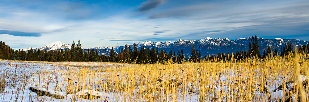 A golden high alpine meadow sits in front of Lone Peak and the Spanish Peaks in Big Sky, Montana. Limited Edition - 75