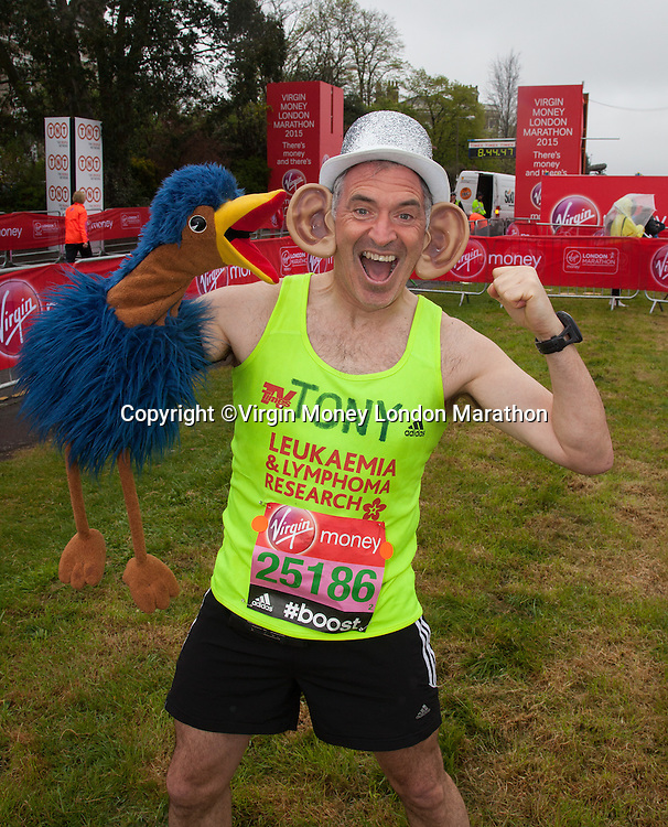 Antony Audenshaw is an English actor, best known for his role as Bob Hope on the popular ITV1 soap Emmerdale. His made his debut in 2000 and has been a cast member ever since. Photographed at the celebrity start of the Virgin Money London Marathon 2015, Sunday 26th April 2015<br /> <br /> Roger Allen for Virgin Money London Marathon<br /> <br /> For more information please contact Penny Dain at pennyd@london-marathon.co.uk