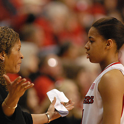 Jan 31, 2009; Piscataway, NJ, USA; Rutgers head coach C. Vivian Stringer coaches guard Nikki Speed (11) during the second half of South Florida's 59-56 victory over Rutgers in NCAA women's college basketball at the Louis Brown Athletic Center