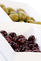 Studio shot of olives in bowl