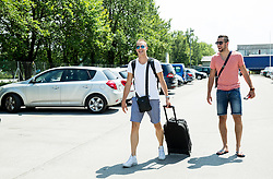 Klemen Prepelic and Aleksej Nikolic during meeting of Slovenian National Nasketball Team at the beginning of Training camp for Eurobasket 2015, on July 18, 2015 in Ljubljana, Slovenia. Photo by Vid Ponikvar / Sportida