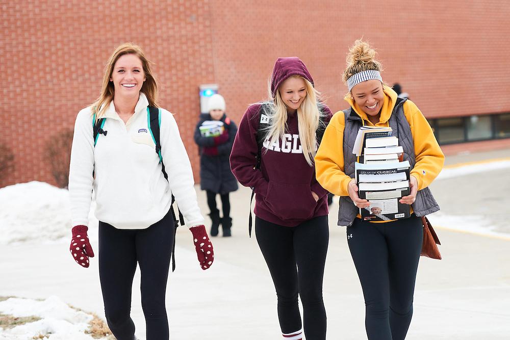 -UWL UW-L UW-La Crosse University of Wisconsin-La Crosse; Books; Candid; Cartwright; cloudy; Group; January; Outside; Smiling; Socializing; Student students; Woman women