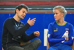 """Mitja Petkovsek and Adela Sajn at event """"Slovenian Gymnastics stars"""" after the European Championships in Milano, on April 6, 2009, in Hall Slovan, Kodeljevo, Ljubljana, Slovenia. (Photo by Vid Ponikvar / Sportida)"""