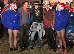 © London news Pictures. 22/06/2017. Glastonbury, UK. Actor JOHNNY DEPP attends and speaks at day 2 of the 2017 Glastonbury Festival. Pictured here with With JOE RUSH and JULIEN TEMPLE. The five-day festival of contemporary performing arts is the highlight of the British festival season. Photo credit: Jason Bryant/LNP