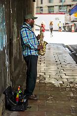 Saxophonist makes use of echo chamber; Edinburgh, 29 June 2019