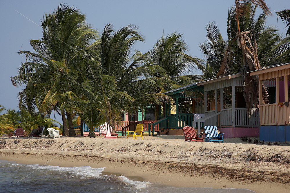 Belize, Central America - the beach houses on the end of the Placencia spit