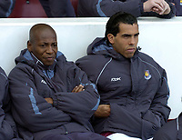 Photo: Olly Greenwood.<br />West Ham United v Watford. The Barclays Premiership. 10/02/2007. West Ham's Luis Boa Morte and Carlos Tevez start on the bench