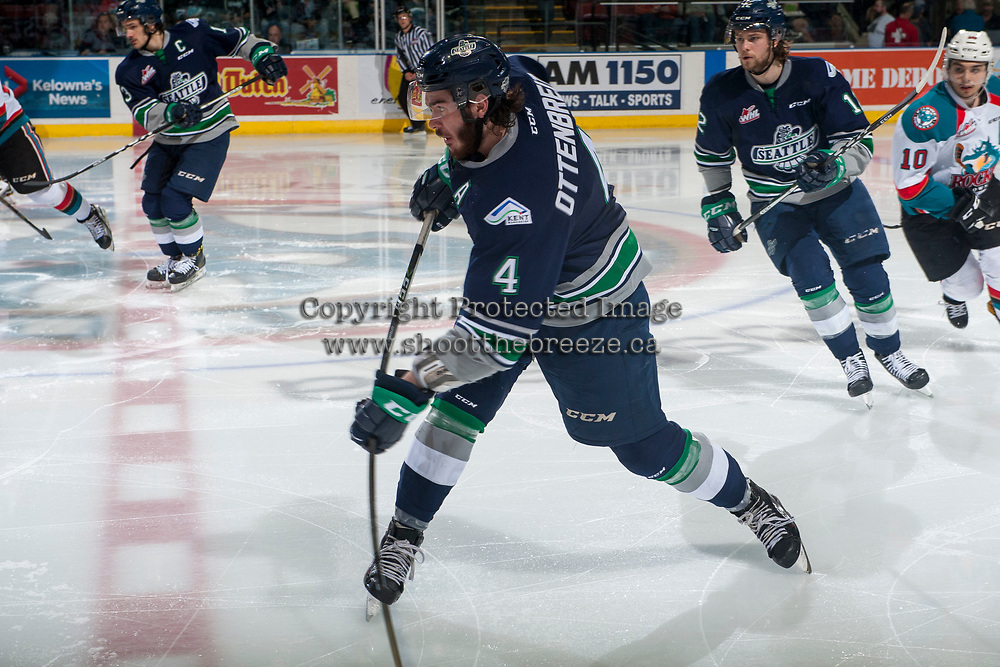 KELOWNA, CANADA - APRIL 25: Turner Ottenbreit #4 of the Seattle Thunderbirds takes a slap shot from centre ice against the Kelowna Rockets on April 25, 2017 at Prospera Place in Kelowna, British Columbia, Canada.  (Photo by Marissa Baecker/Shoot the Breeze)  *** Local Caption ***