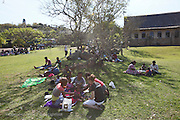Patients waiting in the shade ahead of announcement at the Bundu Lodge during Operation Smile South Africa&rsquo;s 2015 mission to Mbombela. South Africa.<br /> <br /> (Operation Smile Photo - Zute Lightfoot)