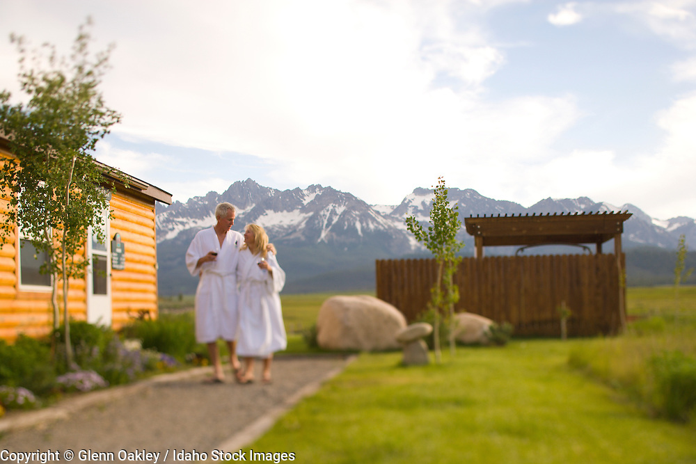 A hot tub facing the Sawtooth Mountains beckons guests at Meadow Creek Inn  & Spa,  Stanley Idaho