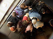 overhead view of an elevator filled with people