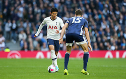 Son Heung-Min of Tottenham Hotspur runs at Craig Cathcart of Watford - Mandatory by-line: Arron Gent/JMP - 19/10/2019 - FOOTBALL - Tottenham Hotspur Stadium - London, England - Tottenham Hotspur v Watford - Premier League
