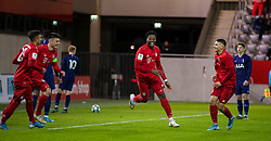 MUNICH, GERMANY - Wednesday, December 11, 2019: Bayern Munich's Bright Akwo Arrey-Mbi celebrates scoring the second goal during the final UEFA Youth League Group B match between FC Bayern München and Tottenham Hotspur at the FC Bayern Campus. (Pic by David Rawcliffe/Propaganda)