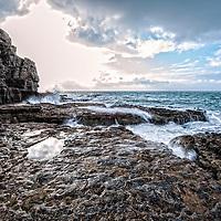 Rocky coastline with sea