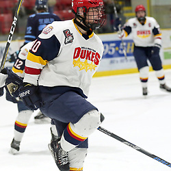 WELLINGTON, ON - FEBRUARY 15: Adam Usinger #10 of the Wellington Dukes celebrates the goal  in the third period on February 15, 2019 at Wellington and District Community Centre in Wellington, Ontario, Canada.<br /> (Photo by Ed McPherson / OJHL Images)