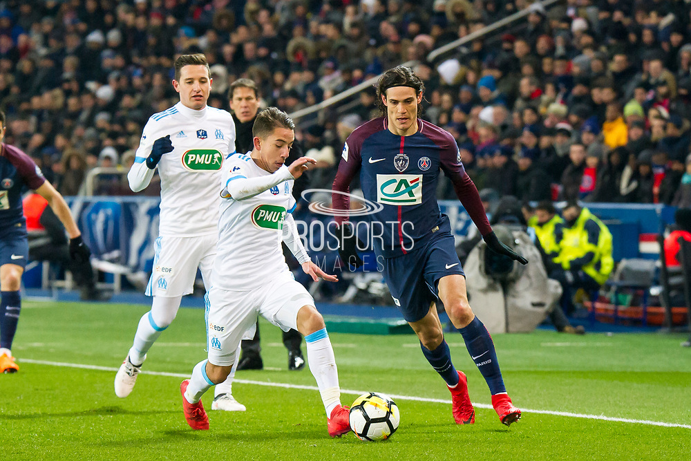 Edinson Cavani (psg) and Bouna Sarr (om) during the French Cup football match between Paris Saint-Germain and Marseille on February 28, 2018 at Parc des Princes Stadium in Paris, France - Photo Pierre Charlier / ProSportsImages / DPPI
