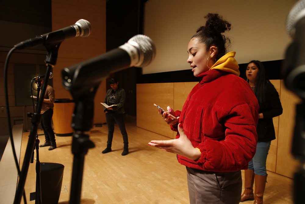 Quinn Edlin rehearses her spoken-word poetry at the San Francisco Public Library's Koret Auditorium, Saturday, Jan. 6, 2018, in San Francisco, Calif. Youth Speaks will be putting on its annual Bringing the Noise event, which commemorates Martin Luther King, Jr. through performances of spoken-word poetry. This year marks both the 20th anniversary of the Bringing the Noise event and the 50th anniversary of MLK's assassination.