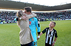 Luke McCormick of Plymouth Argyle celebrates with his wife and son after helping his side reach the League Two Playoff Final - Mandatory by-line: Robbie Stephenson/JMP - 15/05/2016 - FOOTBALL - Home Park - Plymouth, England - Plymouth Argyle v Portsmouth - Sky Bet League Two play-off semi-final second leg