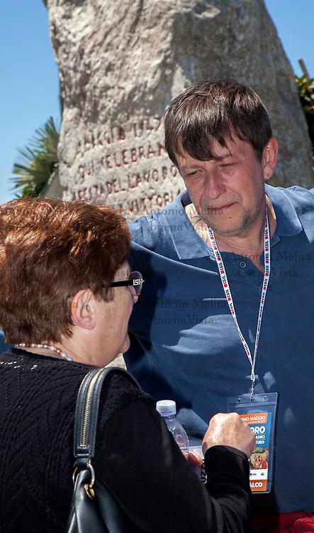 Luca Casarini, portavoce di Sinistra Italiana per Palermo, a Portella della Ginestra nel 70° anniversario della strage.