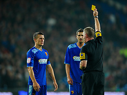 Watford Midfielder Jonathan Hogg (ENG) looks bemused as he is shown a yellow card during the second half of the match - Photo mandatory by-line: Rogan Thomson/JMP - Tel: Mobile: 07966 386802 23/10/2012 - SPORT - FOOTBALL - Cardiff City Stadium - Cardiff. Cardiff City v Watford - Football League Championship