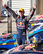 V8 Supercars. Clipsal 500. Adelaide Parklands Circuit.Adelaide. Australia. <br /> Saturday 2/3/2013. Craig LOWNDES (Aus) Red Bull Racing Australia wins the 78 lap V8 Supercars race one.<br /> copyright: © ATP Damir IVKA<br />  - <br /> V8 Tourenwagen Rennen in Adelaide, Australien - 2013,  v8 Saloon car race named Clipsal 500 - Honorarpflichtiges Foto, Fee liable image, Copyright © ATP Damir IVKA
