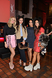Left to right, PIXIE LOTT, EVANGELINE LING, DIONNE BROMFIELD and BIP LING at the YSL Beauty: YSL Loves Your Lips party held at The Boiler House,The Old Truman Brewery, Brick Lane,London on 20th January 2015.
