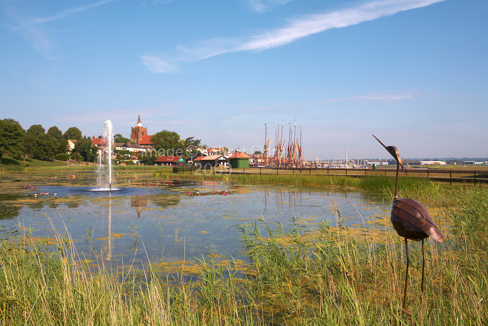 Great Britain England Essex Maldon Promenade and Hythe Quay with lake in foreground