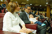 Vatican City oct 9th, 2015, extraordinary synod on family. A family attends to bishops meeting. In the picture Patrizia, Massimo and little Davide