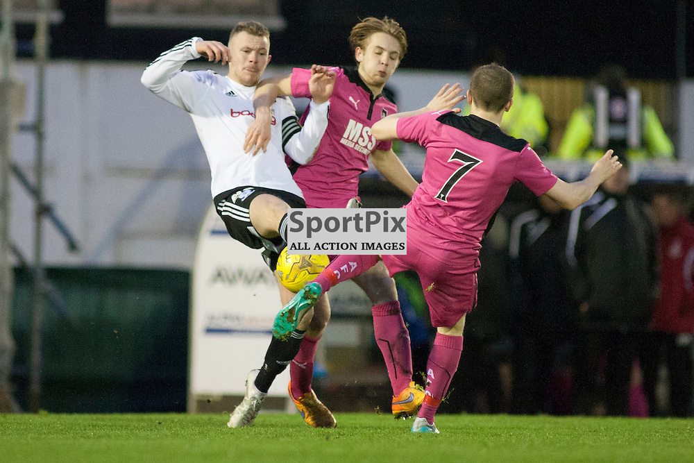 Nicky Devlin (Ayr 2) and Liam Watt (Airdrie 7) contest for the ball in the Ayr United v Airdrieonians Somerset Park Ayr 21 November 2015<br /><br />(c) Russell G Sneddon / SportPix.org.uk