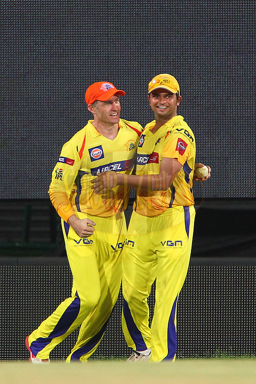 Michael Hussey celebrates the wicket of Gurkeerat Singh during match 45 of the Pepsi Indian Premier League between The Chennai Superkings and the Kings XI Punjab held at the MA Chidambaram Stadium in Chennai on the 2nd May 2013..Photo by Ron Gaunt-IPL-SPORTZPICS   .. .Use of this image is subject to the terms and conditions as outlined by the BCCI. These terms can be found by following this link:..http://www.sportzpics.co.za/image/I0000SoRagM2cIEc