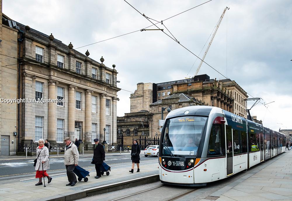 View of Edinburgh tram at station in St Andrews Square , Edinburgh, Scotland, UK