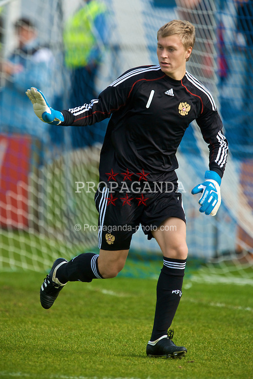 HAVERFORDWEST, WALES - Saturday, October 3, 2009: Russia's goalkeeper Alexey Skornyakov in action against Wales during the UEFA Under-17 Championship Qualifying Round Group 12 match at Bridge Meadow Stadium (Pic by David Rawcliffe/Propaganda)