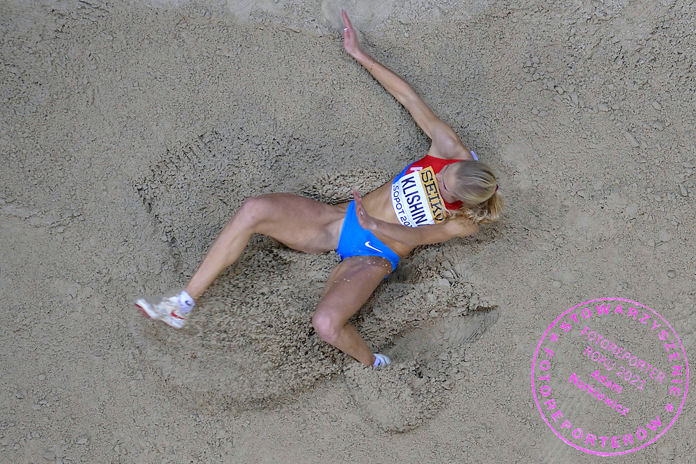 Darya Klishina of Russia competes in women's long jump qualification during the IAAF Athletics World Indoor Championships 2014 at Ergo Arena Hall in Sopot, Poland.<br /> <br /> Poland, Sopot, March 8, 2014.<br /> <br /> Picture also available in RAW (NEF) or TIFF format on special request.<br /> <br /> For editorial use only. Any commercial or promotional use requires permission.<br /> <br /> Mandatory credit:<br /> Photo by &copy; Adam Nurkiewicz / Mediasport