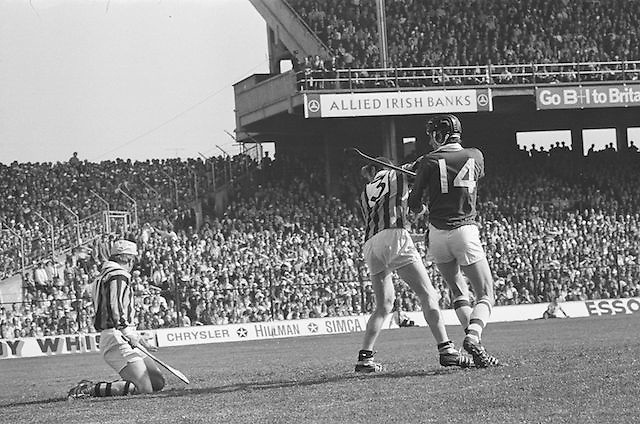 Players looking to see if slitor goes into the goal during at the All Ireland Senior Hurling Final, Cork v Kilkenny in Croke Park on the 3rd September 1972. Kilkenny 3-24, Cork 5-11.