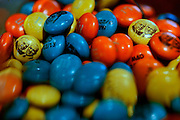 Photo by Matt Roth<br /> Assignment ID: 30148071A<br /> <br /> M&M candies are adorned with the faces and wedding date of David Hagedorn, a chef and food writer, and Michael Widomski, a spokesman for the National Weather Service. They were the second couple to be married by Justice Ruth Bader Ginsburg since DOMA was overturned by the Supreme Court.