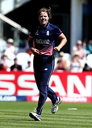 Fran Wilson of England celebrates taking the wicket of Nipuni Hansika of Sri Lanka Women - Mandatory by-line: Robbie Stephenson/JMP - 02/07/2017 - CRICKET - County Ground - Taunton, United Kingdom - England Women v Sri Lanka Women - ICC Women's World Cup Group Stage