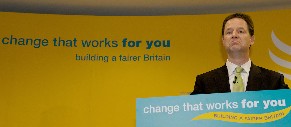 British Liberal Democrat Party leader, Nick Clegg and Liberal Democrat Shadow Chancellor Vince Cable, hold a General Election press conference in central London, on April 20, 2010.
