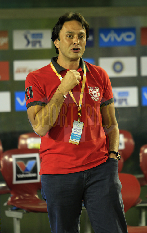 Kings XI Punjab owner Ness Wadia during match 3 of the Vivo Indian Premier League ( IPL ) 2016 between the Kings XI Punjab and the Gujarat Lions held at the IS Bindra Stadium, Mohali, India on the 11th April 2016<br /> <br /> Photo by Arjun Singh/ IPL/ SPORTZPICS