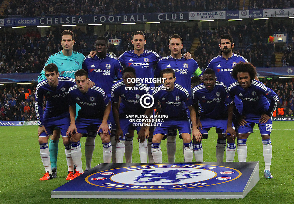 LONDON, ENGLAND - NOVEMBER 04 2015: Chelsea Line up during the UEFA Champions League match between Chelsea and Dynamo Kyiv at Stamford Bridge on November 04, 2015 in London, United Kingdom.