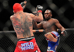 Las Vegas, NV - December 29, 2012: Chris Leben (red trunks) and Derek Brunson (blue/red trunks) during their main card bout at UFC 155 at MGM Grand Garden Arena in Las Vegas, Nevada.