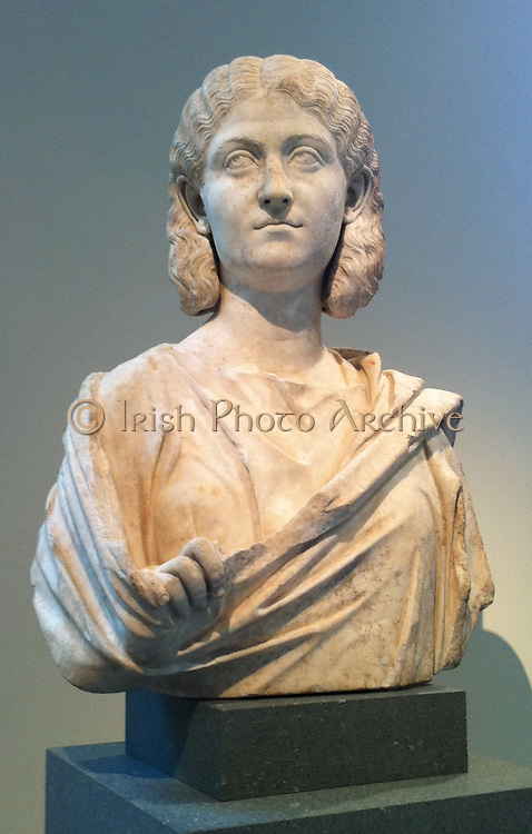 Marble portrait bust of a woman. circa 3rd century AD Roman