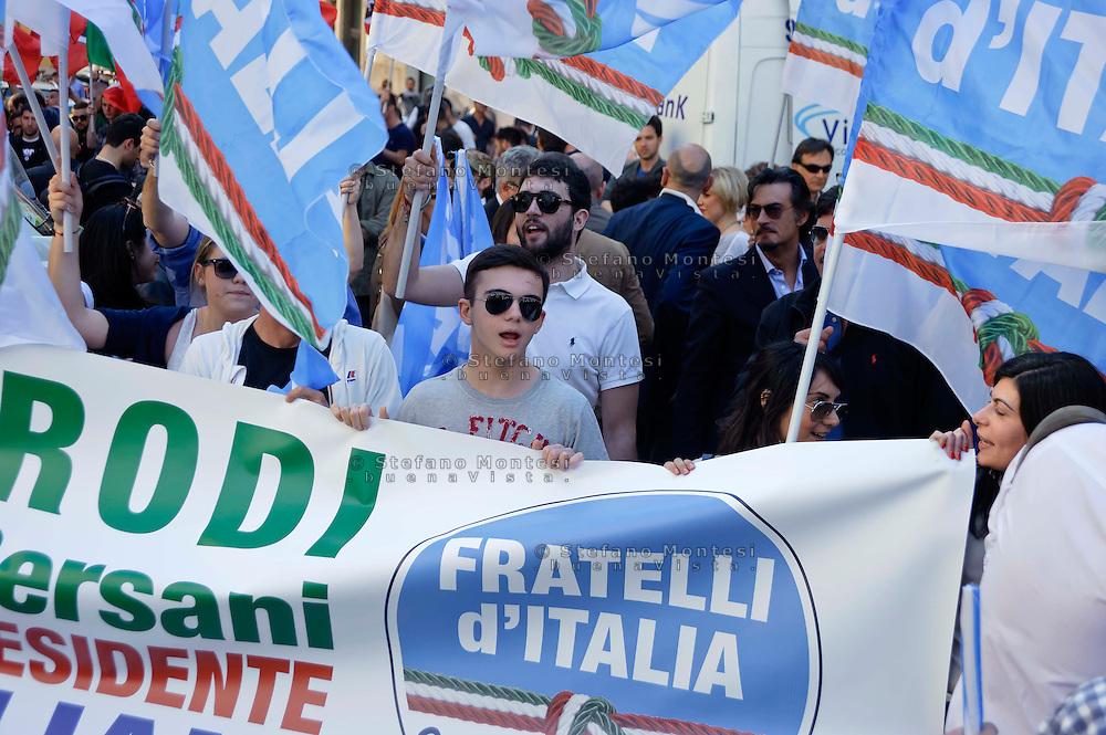 Roma 19 Aprile 2013.Proteste davanti a Montecitorio  dei partiti del centro-destra per la candidatura di Romano Prodi alla Presidenza della Repubblica da parte del Partito Democratico.