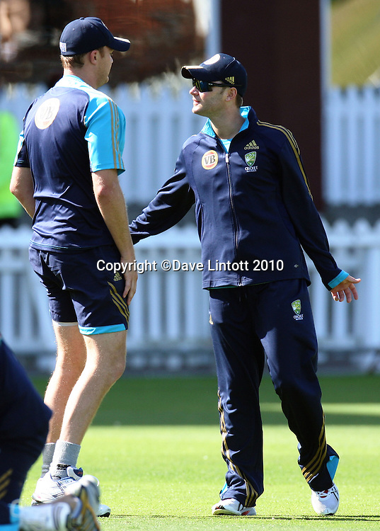 Michael Clarke (right) talks to Doug Bollinger.<br /> Australian cricket training at Allied Prime Basin Reserve, Wellington. Tuesday, 16 March 2010. Photo: Dave Lintott/PHOTOSPORT