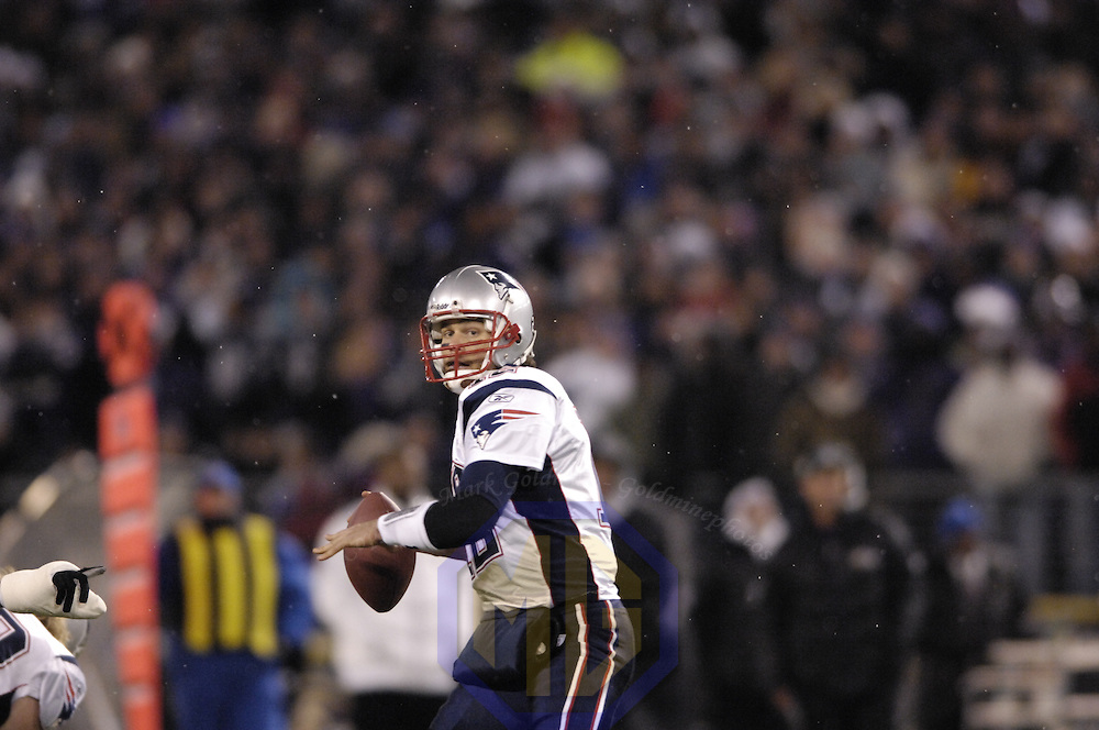 New England Patriots quarterback Tom Brady (12) in action against the Baltimore Ravens on December 3, 2007 at M&T Bank Stadium in Baltimore, Maryland.  The Patriots defeated the Ravens 27-24.