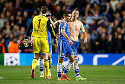 Chelsea Defender Cesar Azpilicueta (ESP) and Defender John Terry (ENG) leave the pitch after a 2-0 win - Photo mandatory by-line: Rogan Thomson/JMP - 18/03/2014 - SPORT - FOOTBALL - Stamford Bridge, London - Chelsea v Galatasaray - UEFA Champions League Round of 16 Second leg.