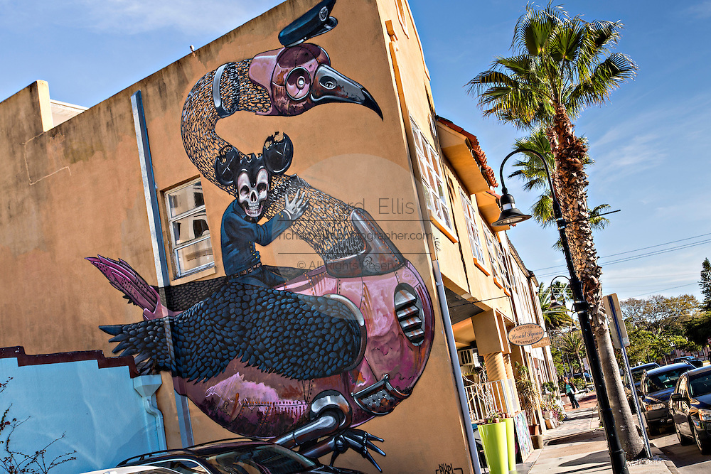 A mural painted on a shop in the trendy neighborhood of Burns Square in downtown Sarasota, Florida.