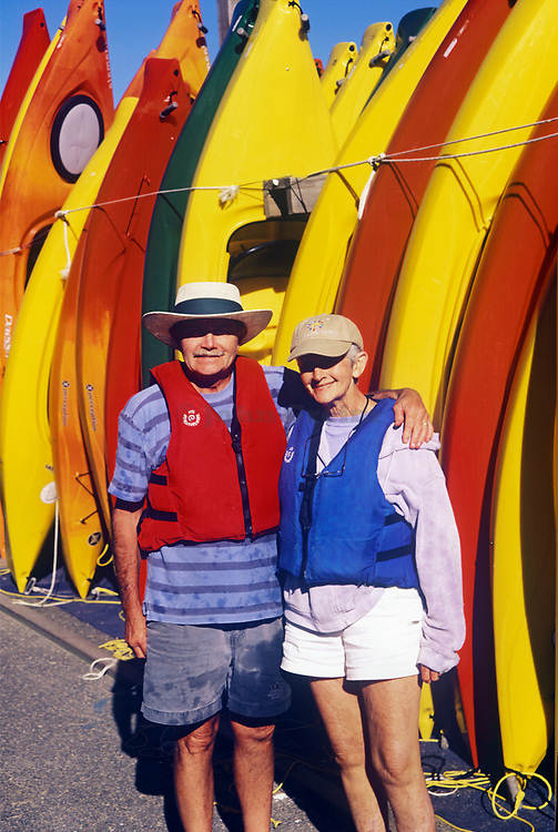 Senior couple kayakers, Orleans, Cape Cod